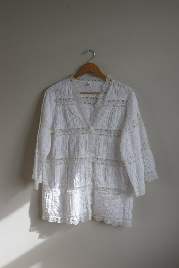 White Pleated Lace Blouse