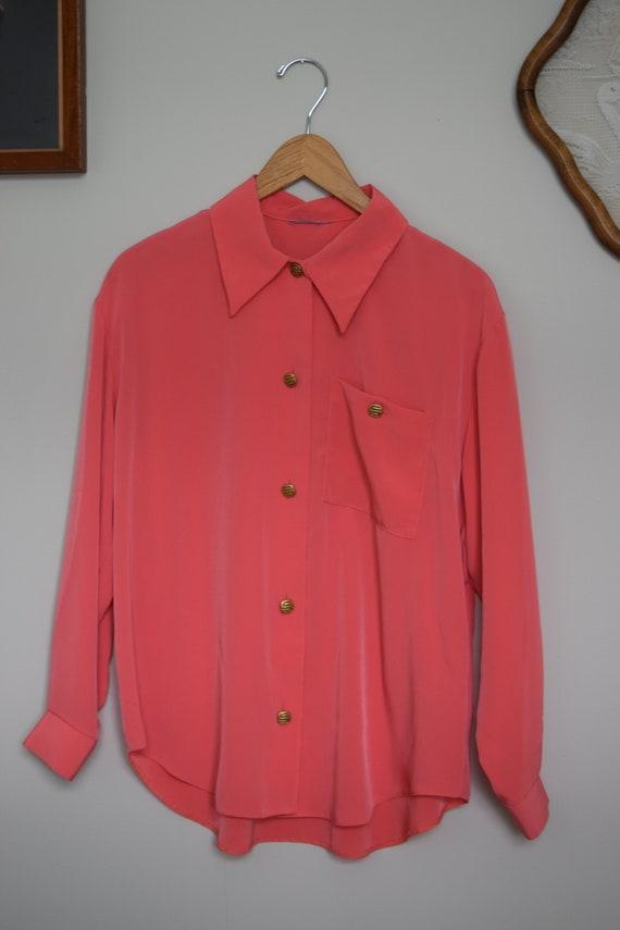 Flamingo Pink 80s Blouse