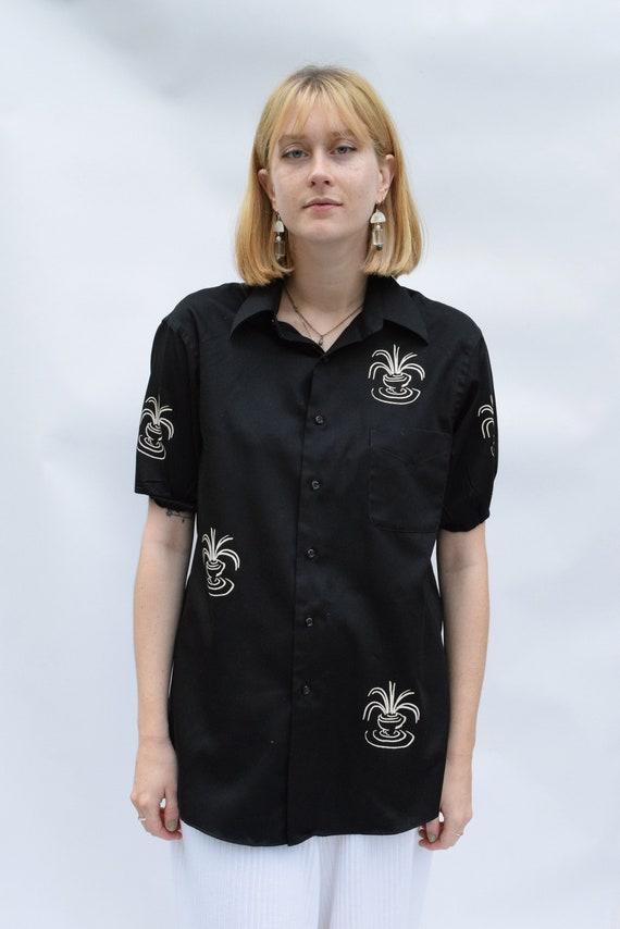 Black Vessel Shirt Balloon-Sleeve Shirt