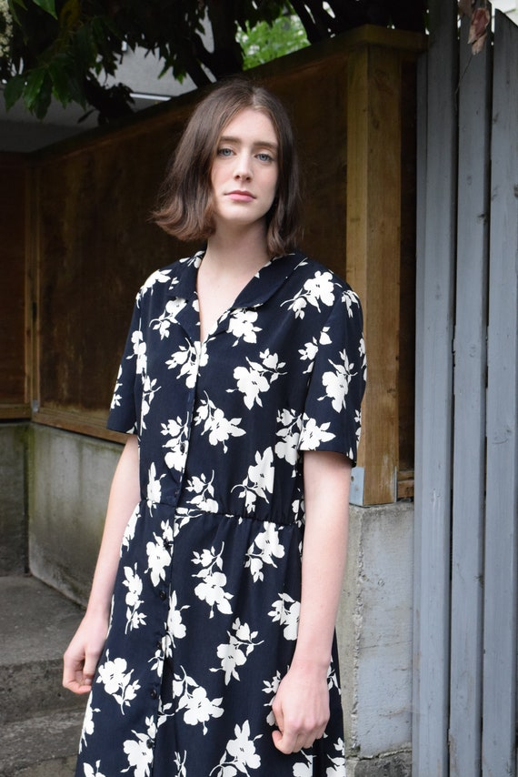 Navy and White Floral Market Dress