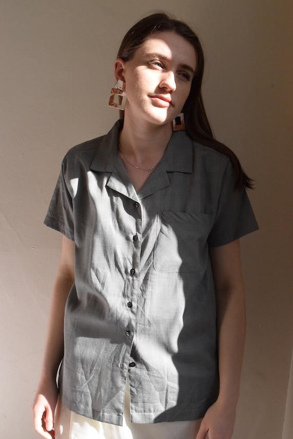 Grey Micro Plaid Short Sleeve Shirt.
