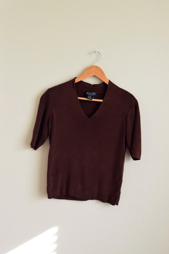 Chocolate Silk Knit V-neck