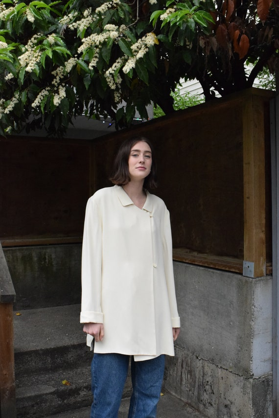 Oversized Cream Long-sleeve Shirt | Print Optional