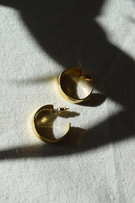 Gold Crescent Hoops