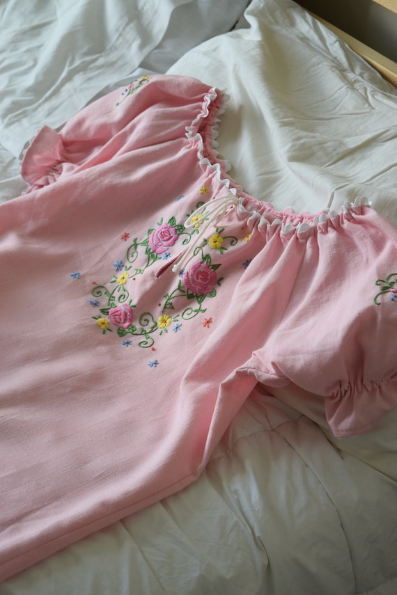 Embroidered Floral Button Sleeve