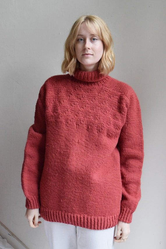 Chunky Red Handknit Turtleneck Wool Sweater