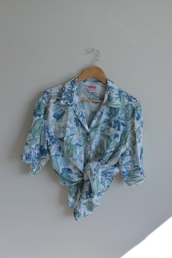 Floral Water-colour Silk Blouse