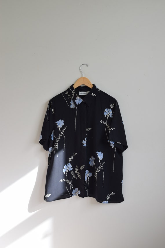 Floral Semi Sheer Button Down