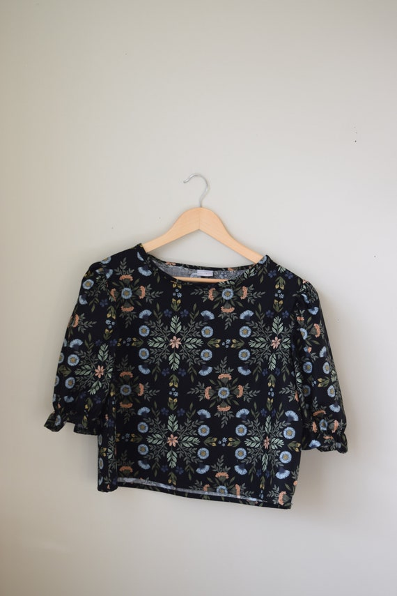 Black Thistle Puff Sleeve Blouse