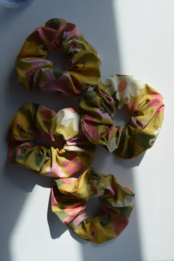 Floral Cotton Hair Scrunchies