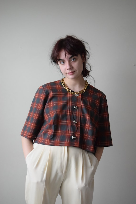 Reworked Plaid Crop Top