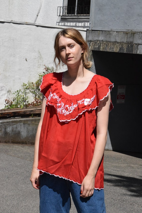 Cherry Red and White Sleeveless Peasant Blouse