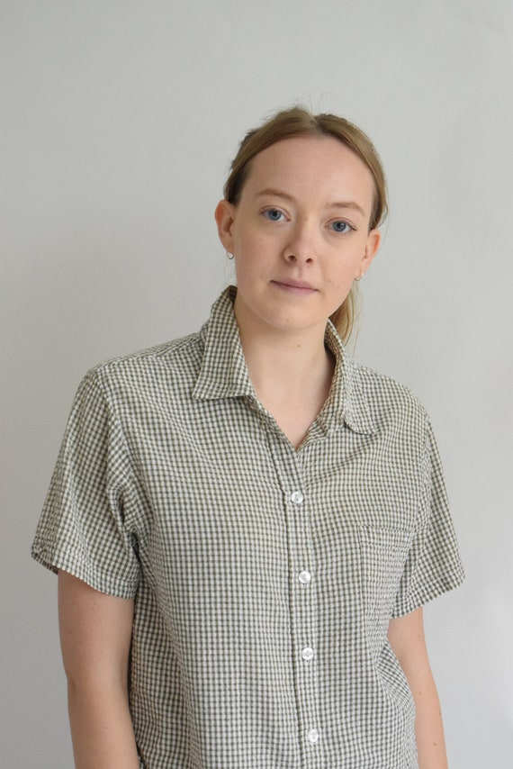 Sage Green Gingham Short Sleeve