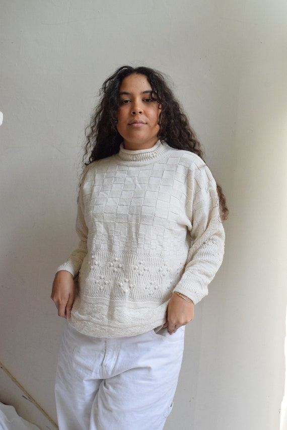 Cream Knit Mock Neck Sweater