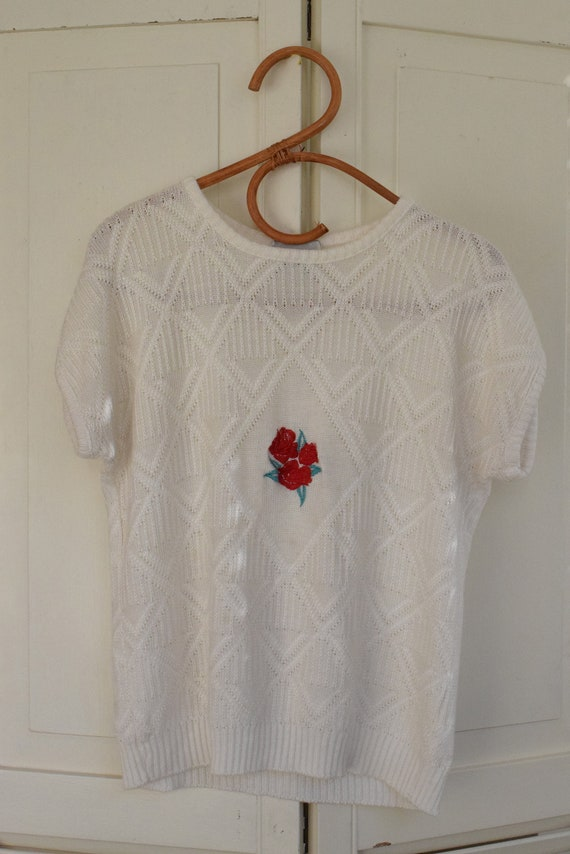 Rose Embroidered Knit Tee