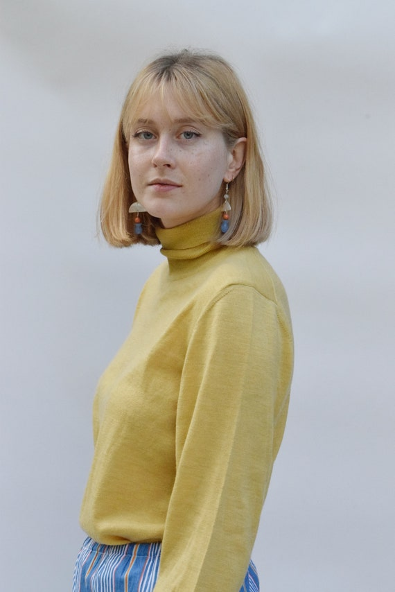 Muted Yellow Wool Turtleneck Pullover