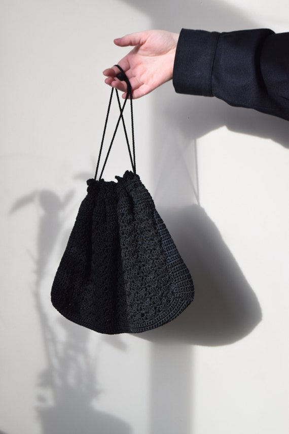 Black Crochet Drawstring Bag
