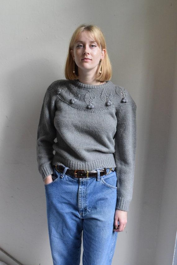Grey Handknit Pullover