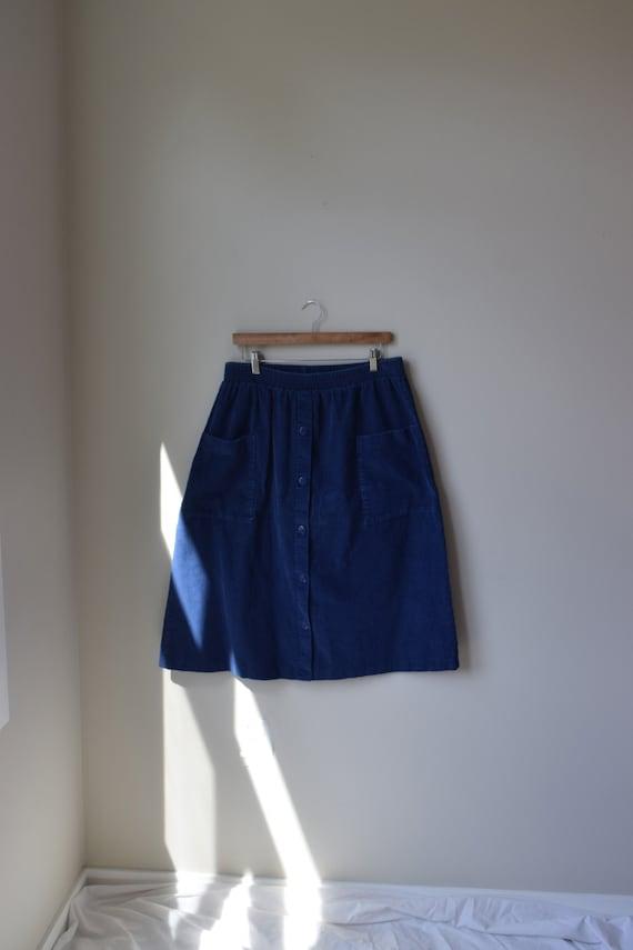 Blue Corduroy A-Line Skirt
