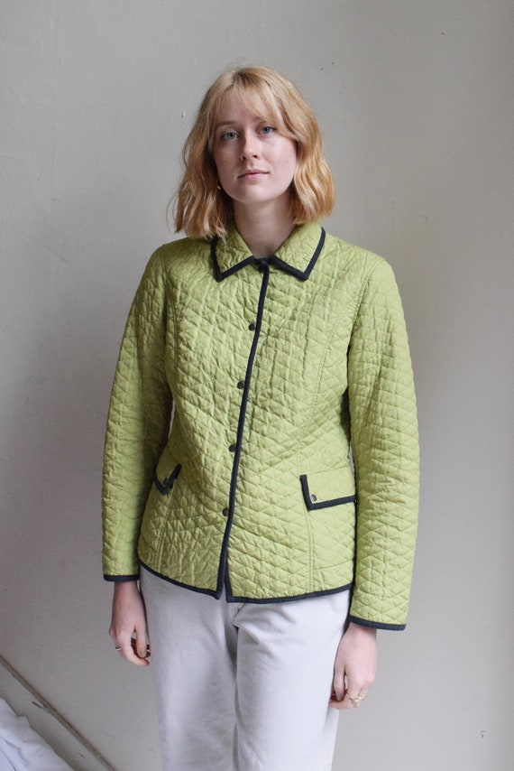 Quilted Contrast Jacket in Pear