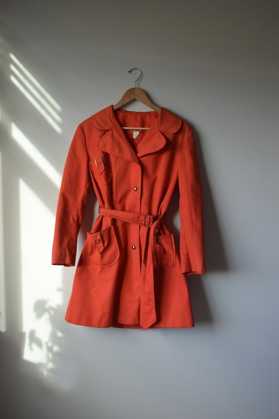 Tangerine Canvas Trench Coat