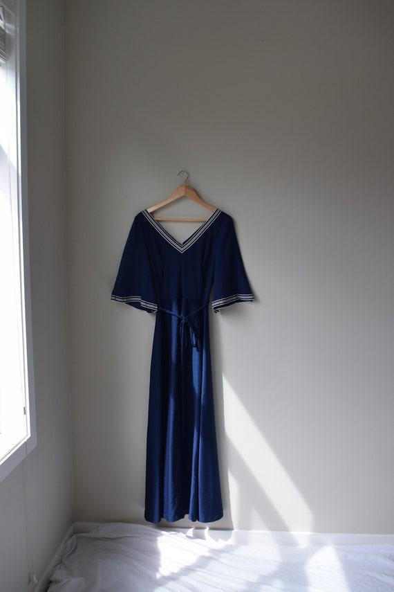 Navy V-Neck Maxi Dress
