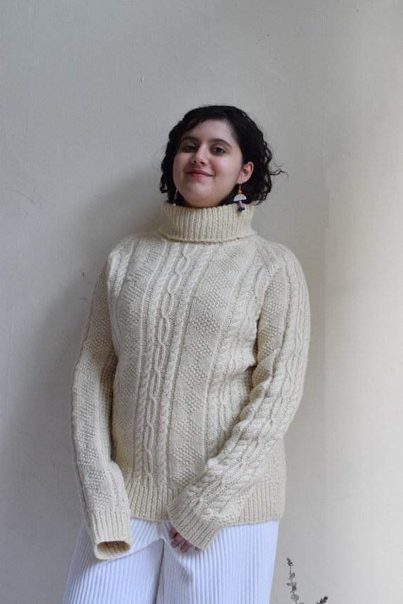 Cream Chunky Turtleneck Sweater