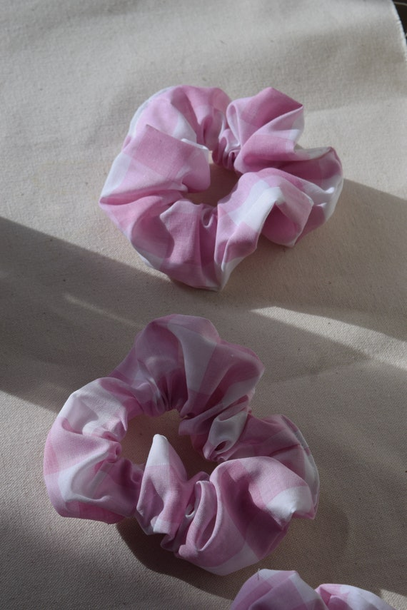 Pink Gingham Hair Scrunchies