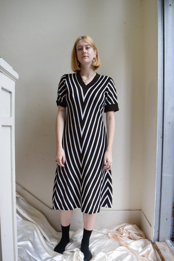 White and Umber Striped Dress