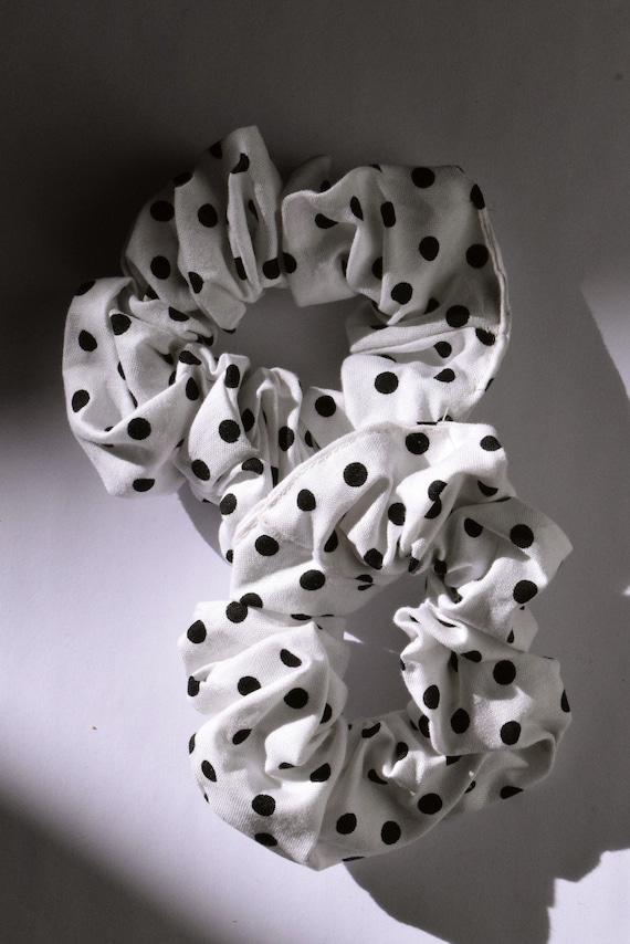 White and Black Polka Dot Scrunchie     Add-on Item