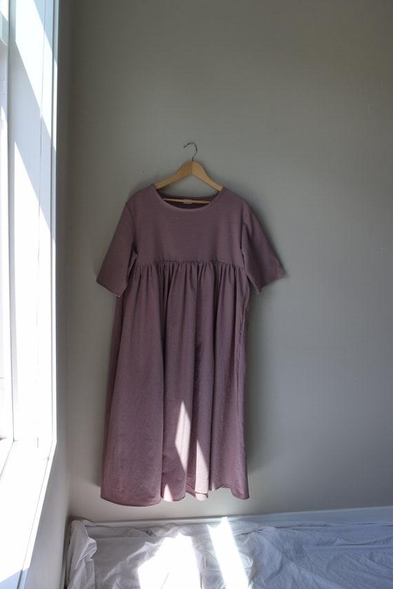 Rose Gathered Cotton Dress