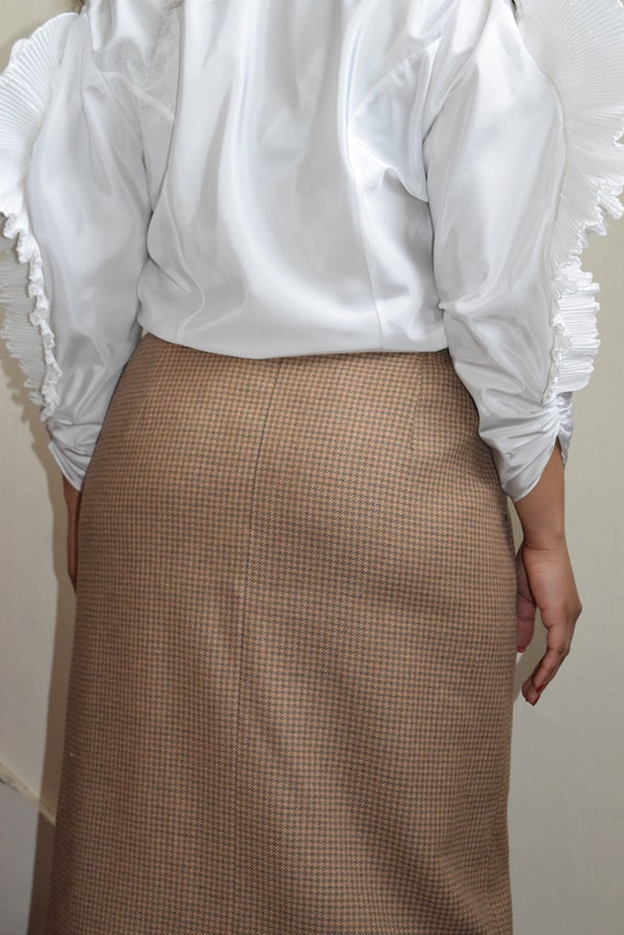 Camel Houndstooth Wool Skirt