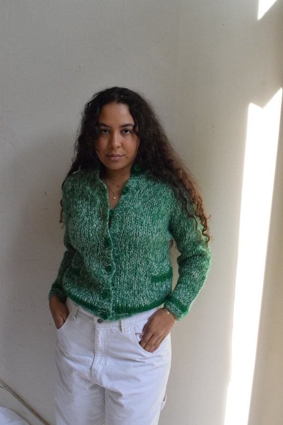 Hand-Knit Wool Speckled Green Cardigan