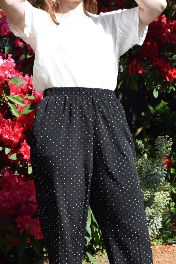 Black and White Polka Dot High Waist Pants.