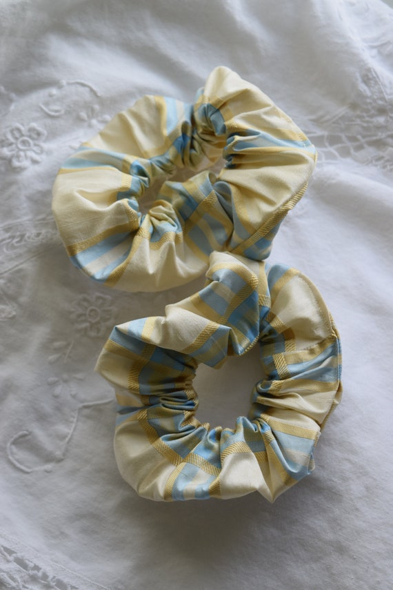 Plaid Silk Hair Scrunchies