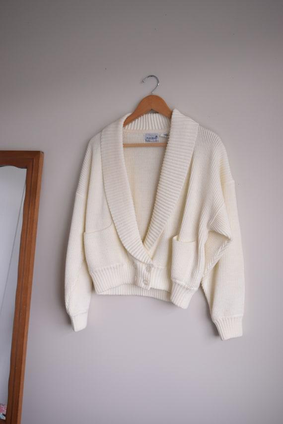 Cream Robed Collar Cardigan