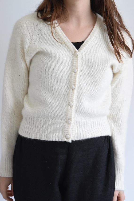 Angora Ivory Cropped Cardigan