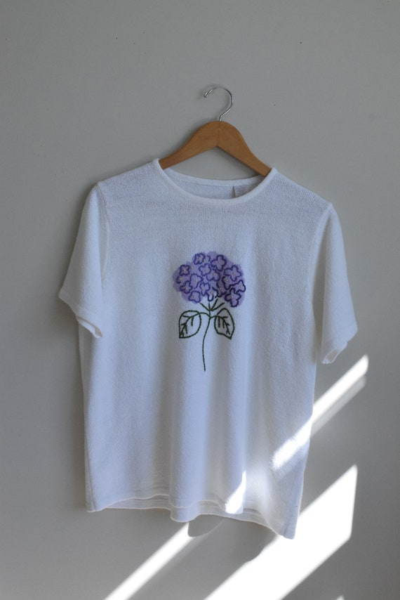 Hydrangea Embroidered Tee