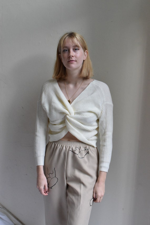White Knit Knotted Wool Sweater