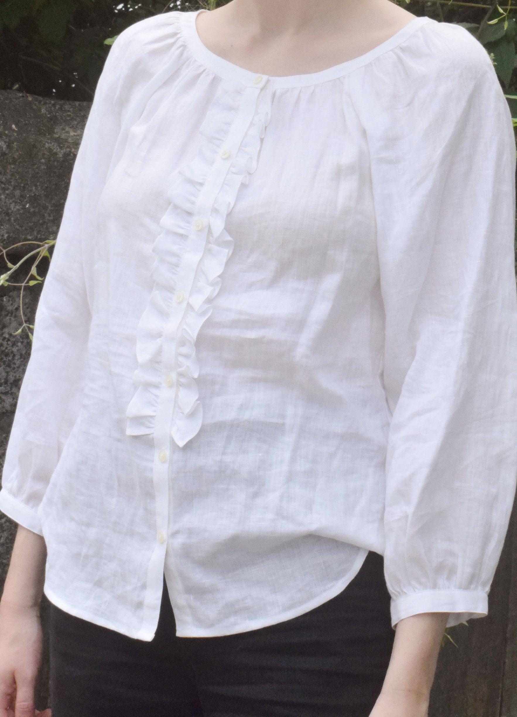 90b93a1b4830f2 Vintage Ralph Lauren White Linen Blouse.