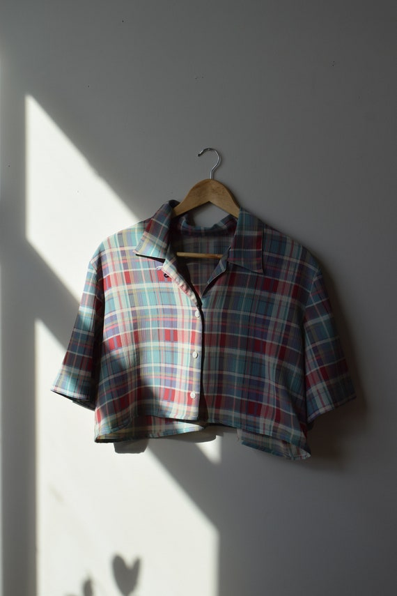 Reworked Cropped Plaid Blouse