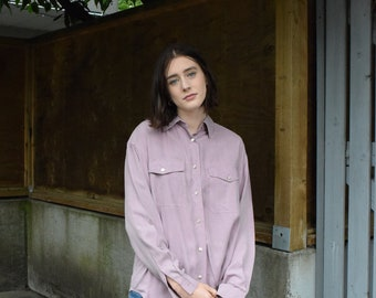 Lavender Silk Long Sleeve Shirt       Print Optional