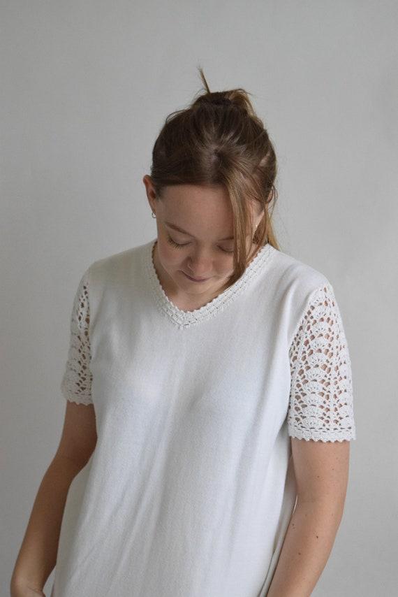 Ivory V-Neck Knit Tee