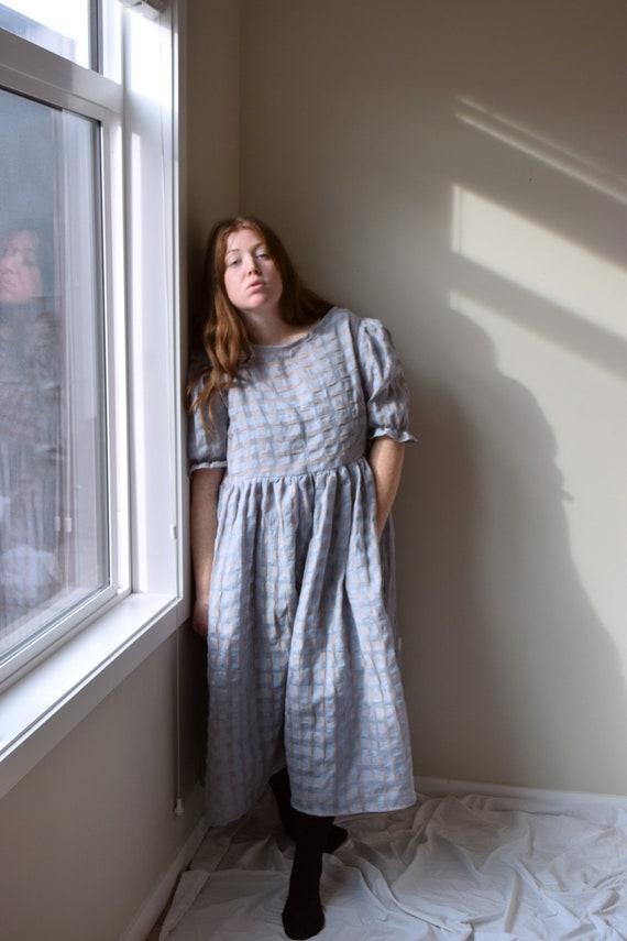 Sheer Gingham Puff Sleeve Dress