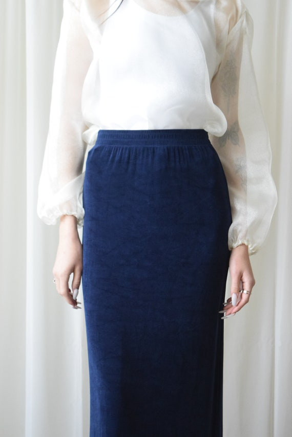 Navy Stretch Pencil Skirt
