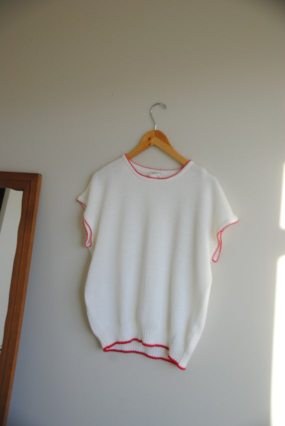 White & Red Knit Tee