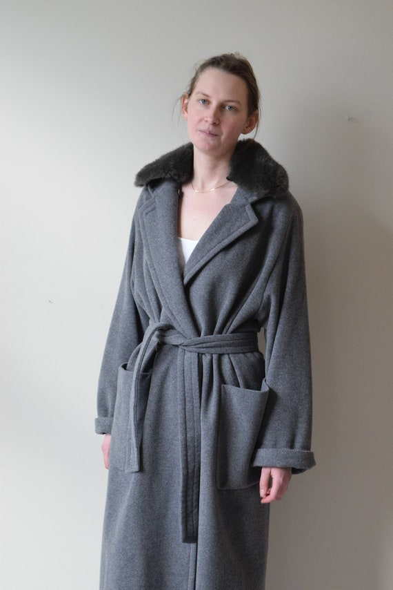 Charcoal Wool Coat with Faux Fur Collar