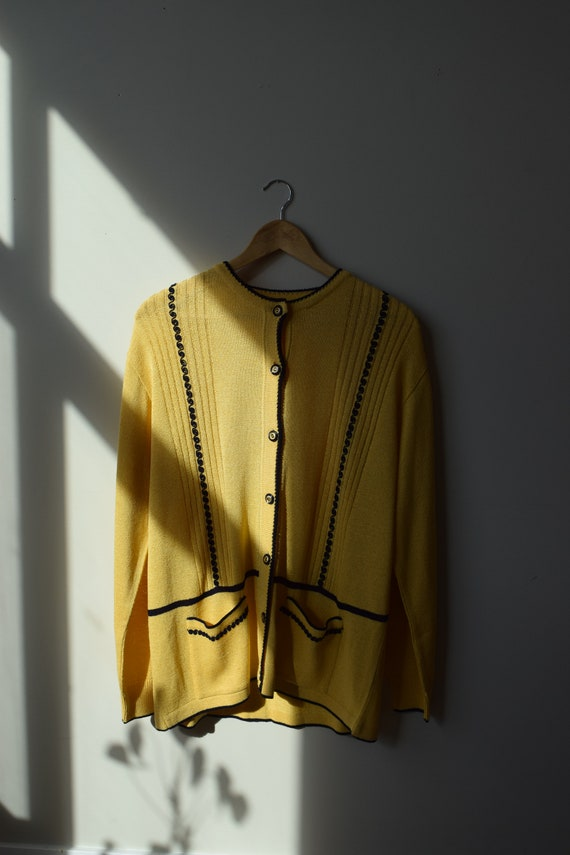 Yellow Piped Cardigan