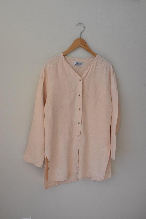 Peach Linen Chore Shirt