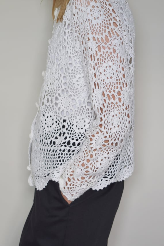 White Crochet Cardigan